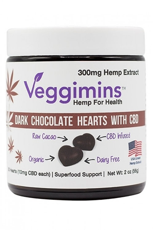 VEGGIMINS DARK CHOCOLATE 300MG HEARTS