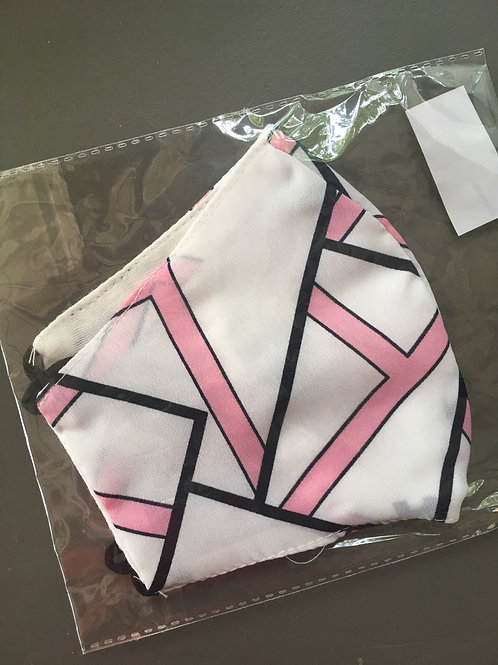 Pink/White Adjustable Women's/Unisex Face Mask