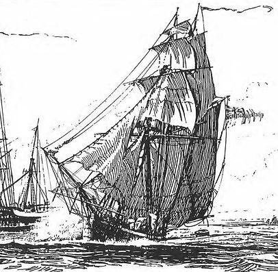 historic drawing of ship