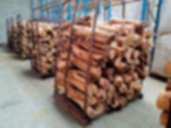 Raw Sandalwood logs stacked on pallets in wearhouse