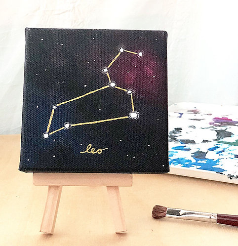 Leo Painting with Easel Zodiac Constellation