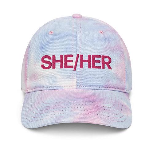 She/Her Tie Dye Pronouns Cap