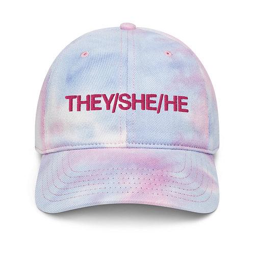 They/She/He Tie Dye Pronouns Cap