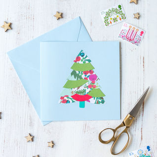 Christmas Tree Collaged Card