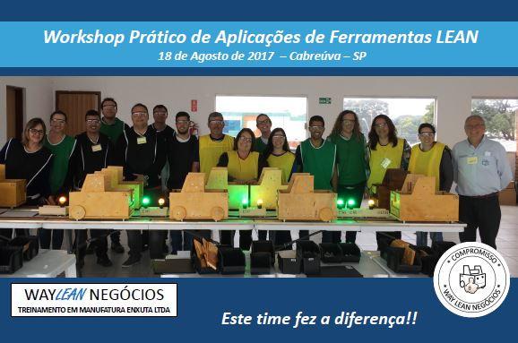 Workshop prático de aplicações de ferramentas Lean - 18.08.2017 - Cidade de Cabreúva