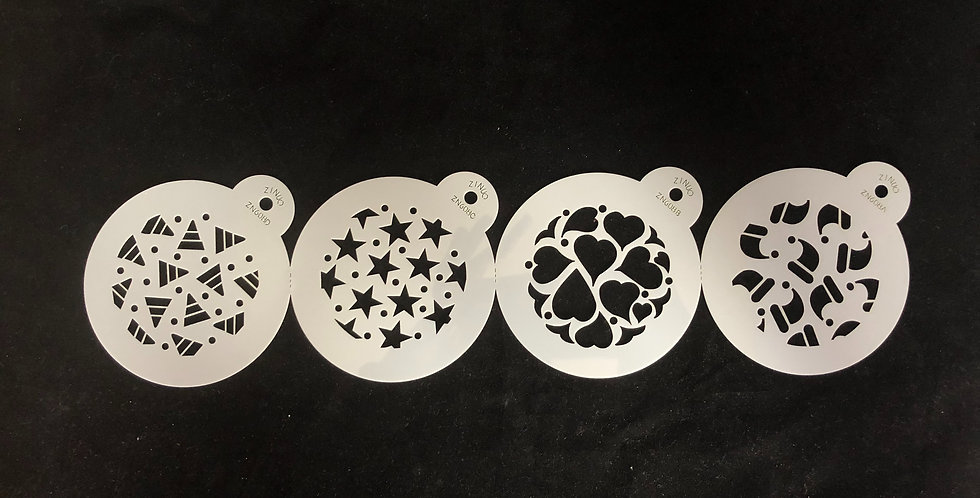 4 Pack Assorted Novelty Stencils