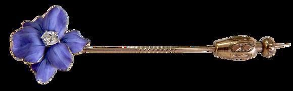 Enamel and Diamond Flower Stick Pin