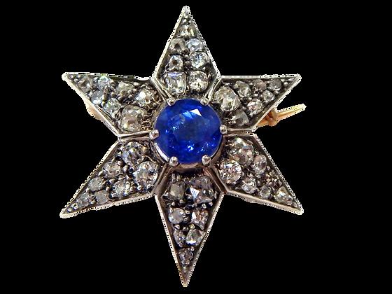 Genuine Sapphire & Diamond Brooch
