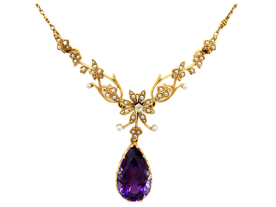 Amethyst & Seed Pearl Necklace