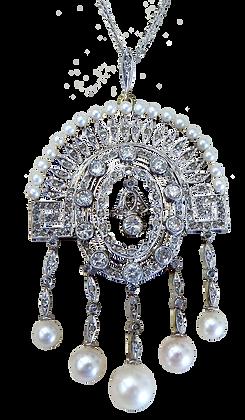 Pearl and Diamond Platinum Pendant