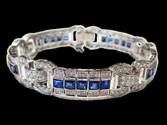 Platinum Sapphire & Diamond Bracelet