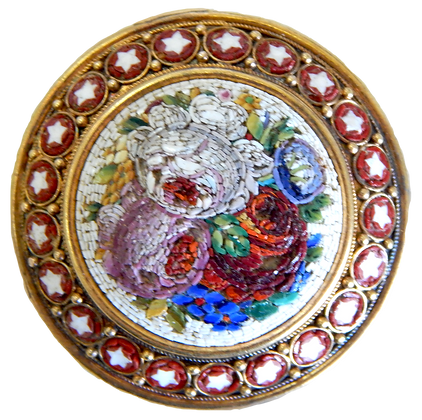 Mosaic Floral Brooch Gold