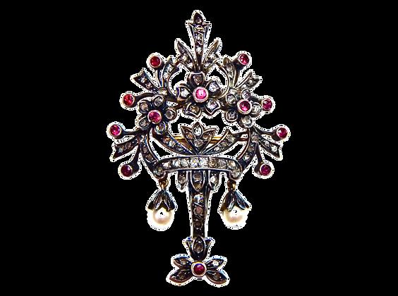 Ruby Pearl Diamond Bouquet Brooch