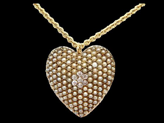 Gold Pearl & Diamond Pendant