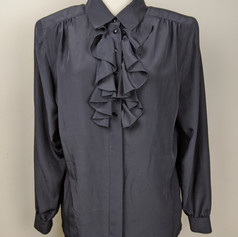 Early 1980s Ruffle Front Blouse
