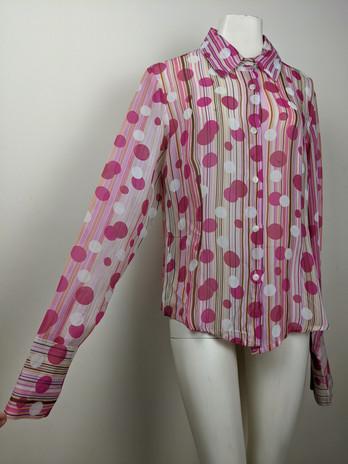 2000s Pink Polkadot Button-Up