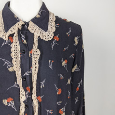 Late 1970's Black Floral Button-Up