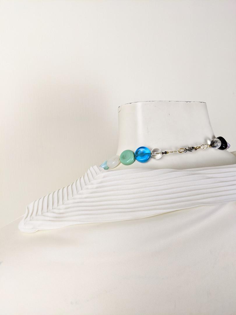 1980s White Sailor Collar Button-Up Collar Back