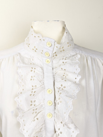 1980s White Ruffle Button-Up