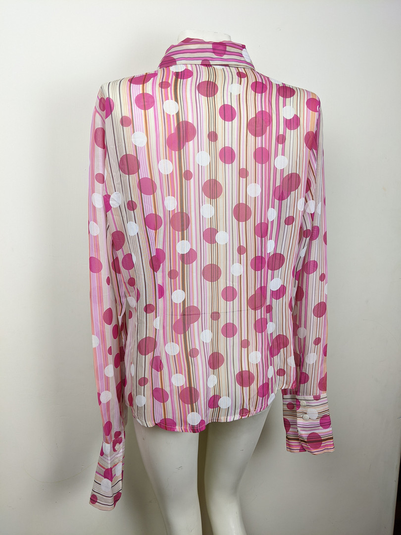 2000s Pink Polkadot Button-Up Back