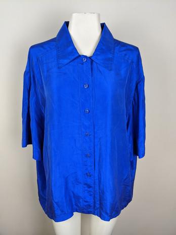 1980s Electric Blue Silk Top (handmade)