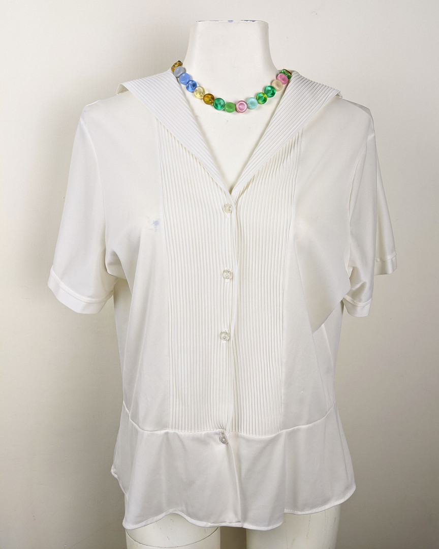 1980s White Sailor Collar Button-Up