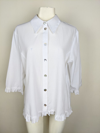 2000s White Ruffle Button-Up