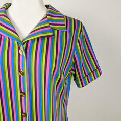 1970s Bright Striped Button-Up