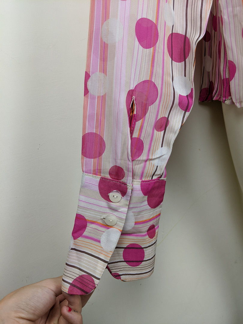 2000s Pink Polkadot Button-Up Sleeve