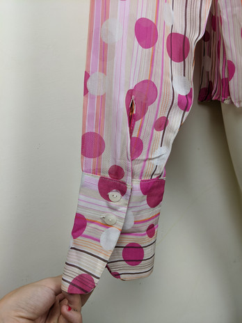 2000s Pink Polkadot Button-Up Sleeve