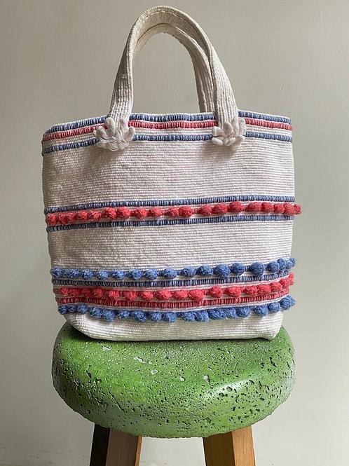 hand woven mini tote bag< white >