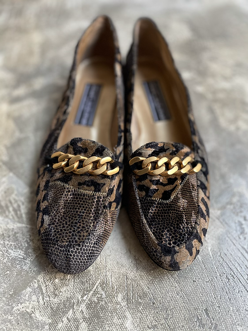 animal patchwork flat shoes