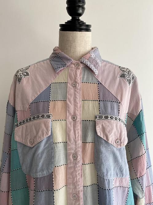pastel color stitch shirt