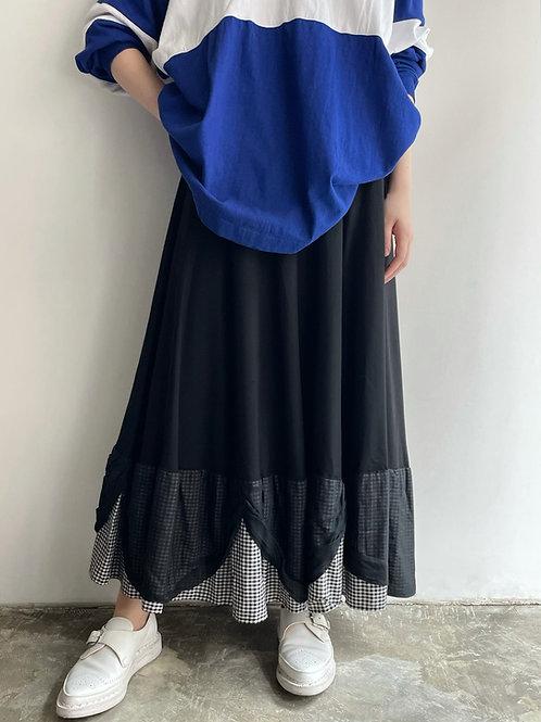 antique gingham layered skirt