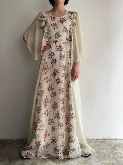 scalloped floral print dress