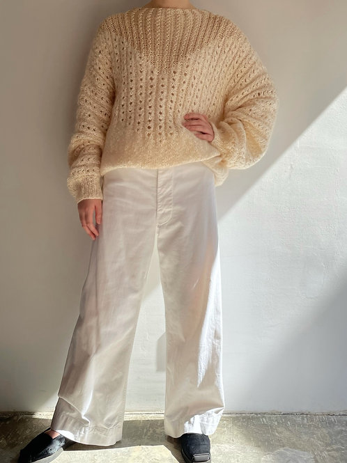 white hand knitted sweater