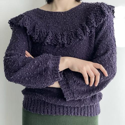 purple ruffle sweater