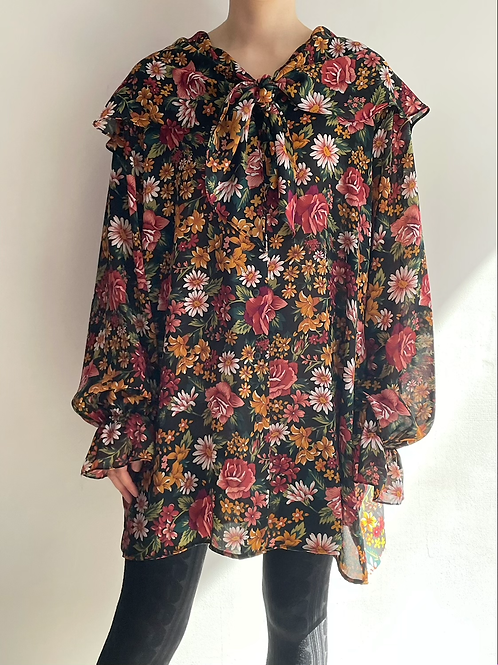 floral big collar blouse