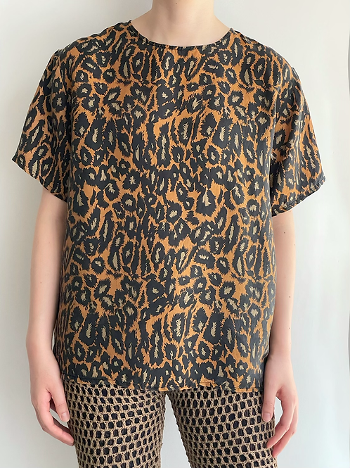 animal print silk top