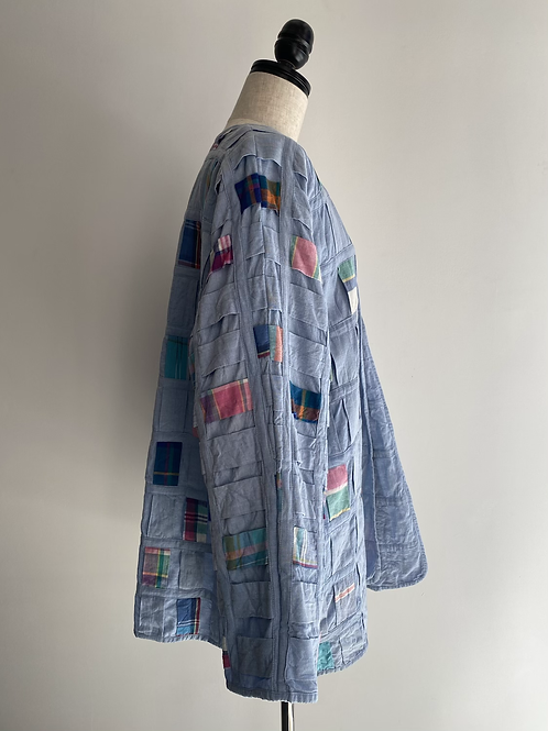 madras check design open jacket