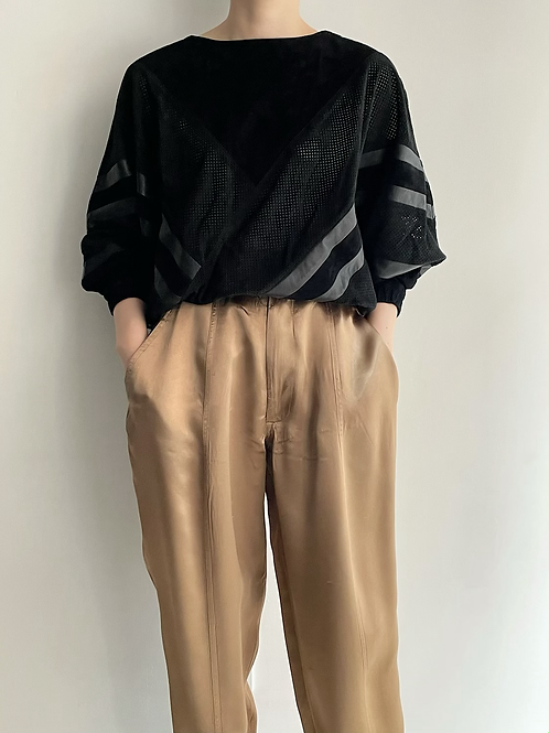 leather design pullover