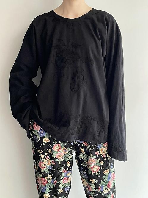 black bird embroidered top