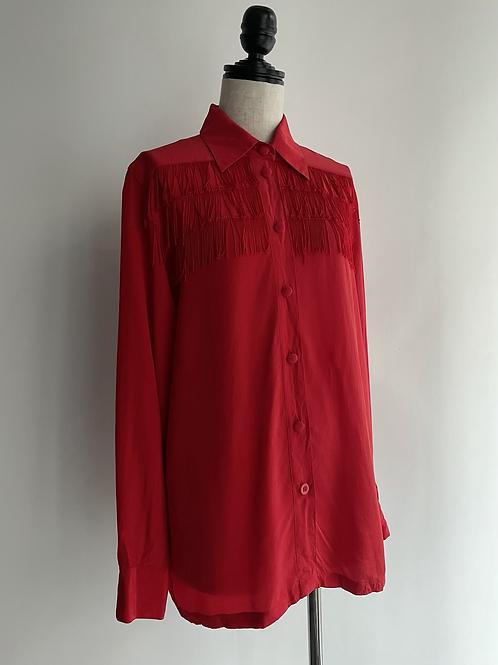fringe red silk shirt
