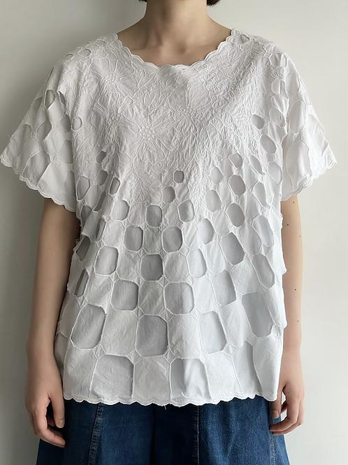 white cutwork top