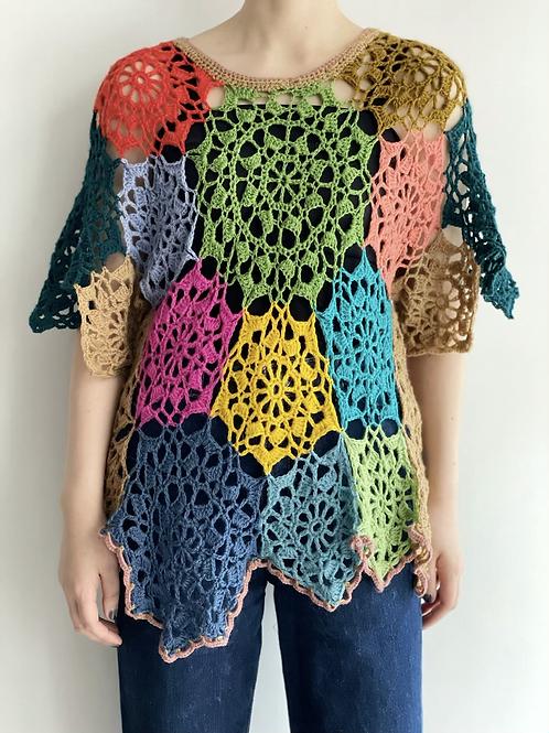 asymmetrical crochet pullover