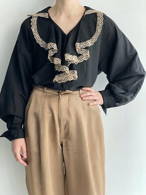 ruffle black blouse