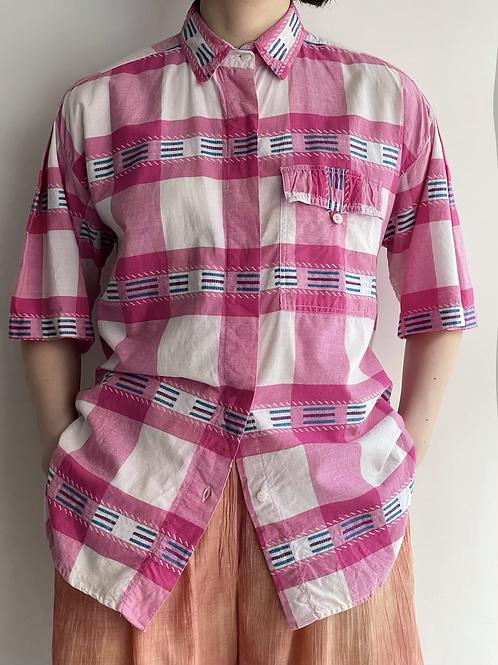 pink plaid cotton shirt