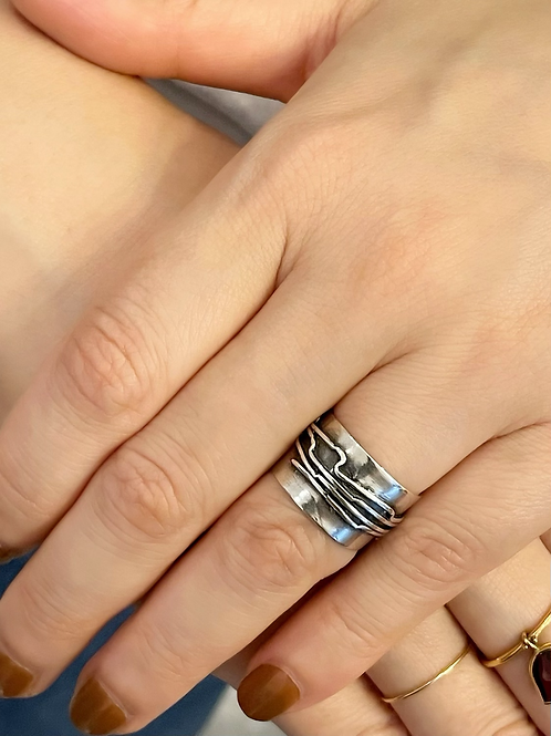 wide silver ring
