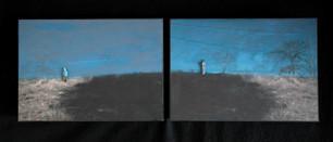 2x verdiept houten paneel 14,8x21cm.