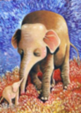 """""""Elephant Mother"""" - acrylic on wood panel"""